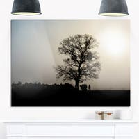 Frosty Spring Morning Sunrise with Tree - Landscape Glossy Metal Wall Art