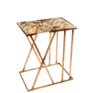 Karla White/Gold Marble/Metal/Wood Side Table