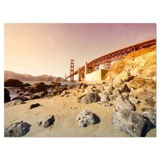 Golden Gate in Bright Day - Landscape Glossy Metal Wall Art