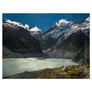 Frosty Mountains Over Blue Lake - Landscape Glossy Metal Wall Art