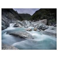 Slow Motion Mountain River and Rocks - Landscape Glossy Metal Wall Art