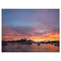 Ferry in Sydney Harbor at Sunset - Landscape Glossy Metal Wall Art