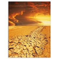 Drought Land under Dramatic Sky - Modern Landscape Glossy Metal Wall Art