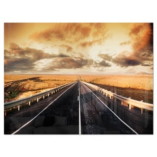 Road through Desert Panorama - Extra Large Glossy Metal Wall Art Landscape