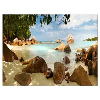 Tropical Rocky Beach Panorama - Extra Large Glossy Metal Wall Art Landscape