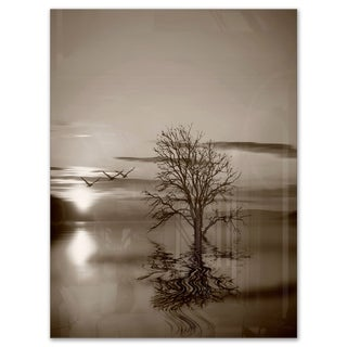 Flying Birds and Lonely Tree - Extra Large Glossy Metal Wall Art Landscape