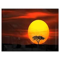 Lonely Tree with Birds at Sunset - Extra Large Glossy Metal Wall Art Landscape