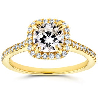 Annello 14k Yellow Gold Cushion Moissanite and 1/3ct TDW Diamond Halo Cathedral Engagement Ring (G-H, I1-I2)