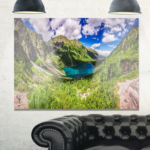 Green Tatra Mountains and Lake - Landscape Glossy Metal Wall Art