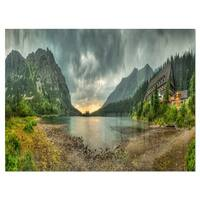 Mountain Chalet at Sunset Panorama - Landscape Glossy Metal Wall Art