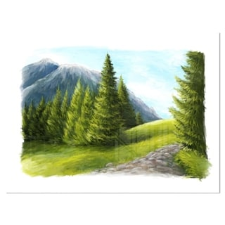 Road in Green Mountains - Landscape Glossy Metal Wall Art