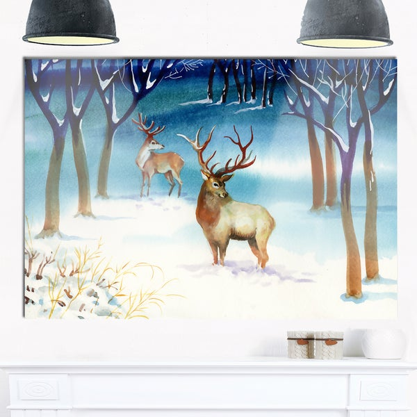Amazing Winter Forest with Deer - Landscape Glossy Metal Wall Art - Multi