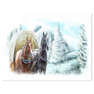 Painted Scene with Horses in Winter - Landscape Glossy Metal Wall Art
