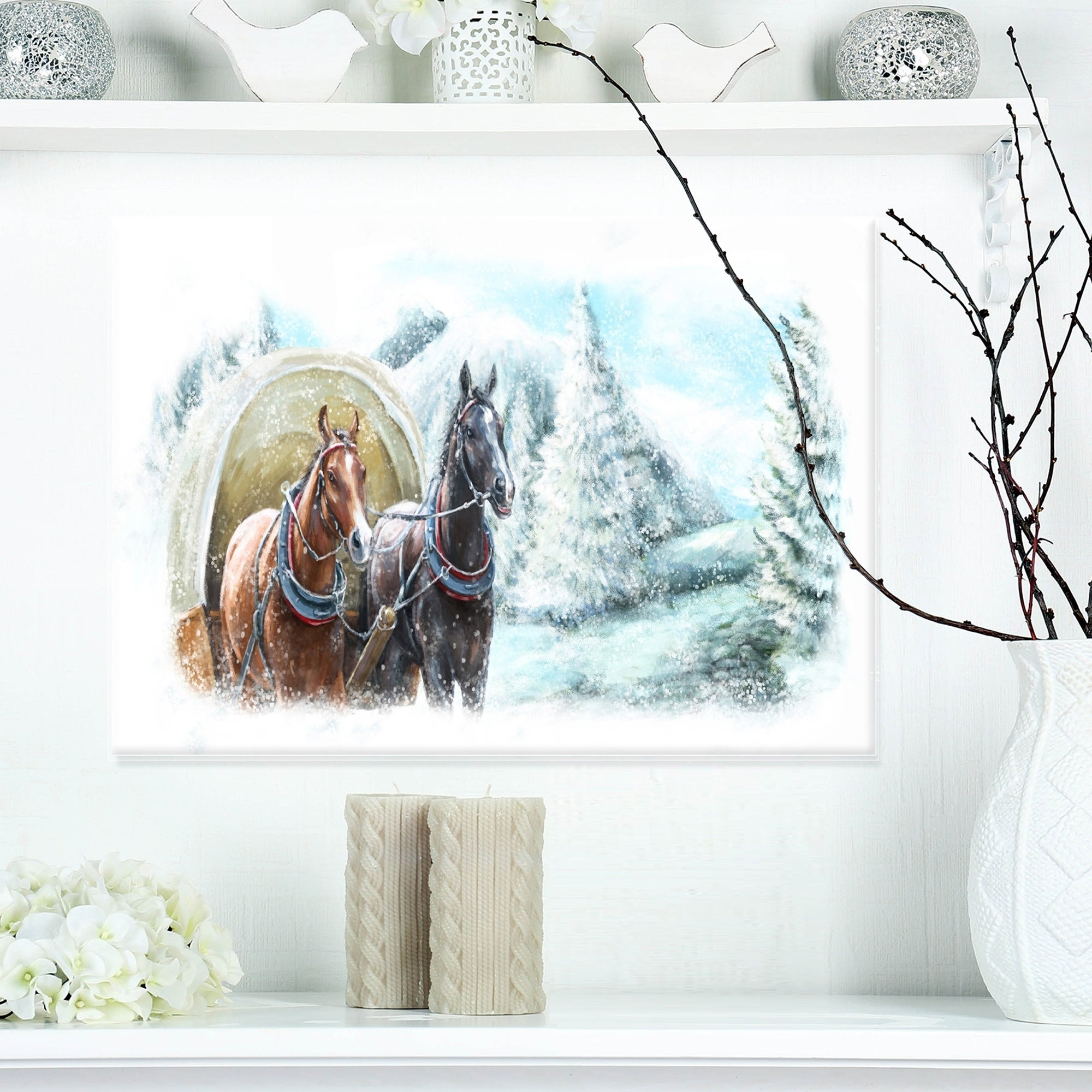 Painted Scene With Horses In Winter Landscape Glossy Metal Wall Art Overstock 12779394
