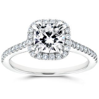 Annello by Kobelli 14k White Gold Cushion Moissanite and 1/3ct TDW Diamond Halo Cathedral Engagement