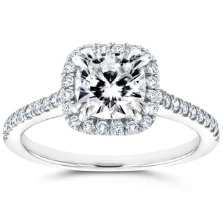 Annello 14k White Gold Cushion Moissanite and 1/3ct TDW Diamond Halo Cathedral Engagement Ring (G-H, I1-I2)