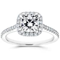 Annello by Kobelli 14k White Gold Cushion Moissanite (FG) and 1/3ct TDW Diamond (GH) Halo Cathedral Engagement