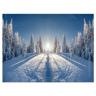 Majestic White Winter Landscape - Landscape Glossy Metal Wall Art