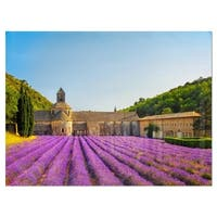 Abbey of Senanque Lavender Flowers - Oversized Landscape Glossy Metal Wall Art