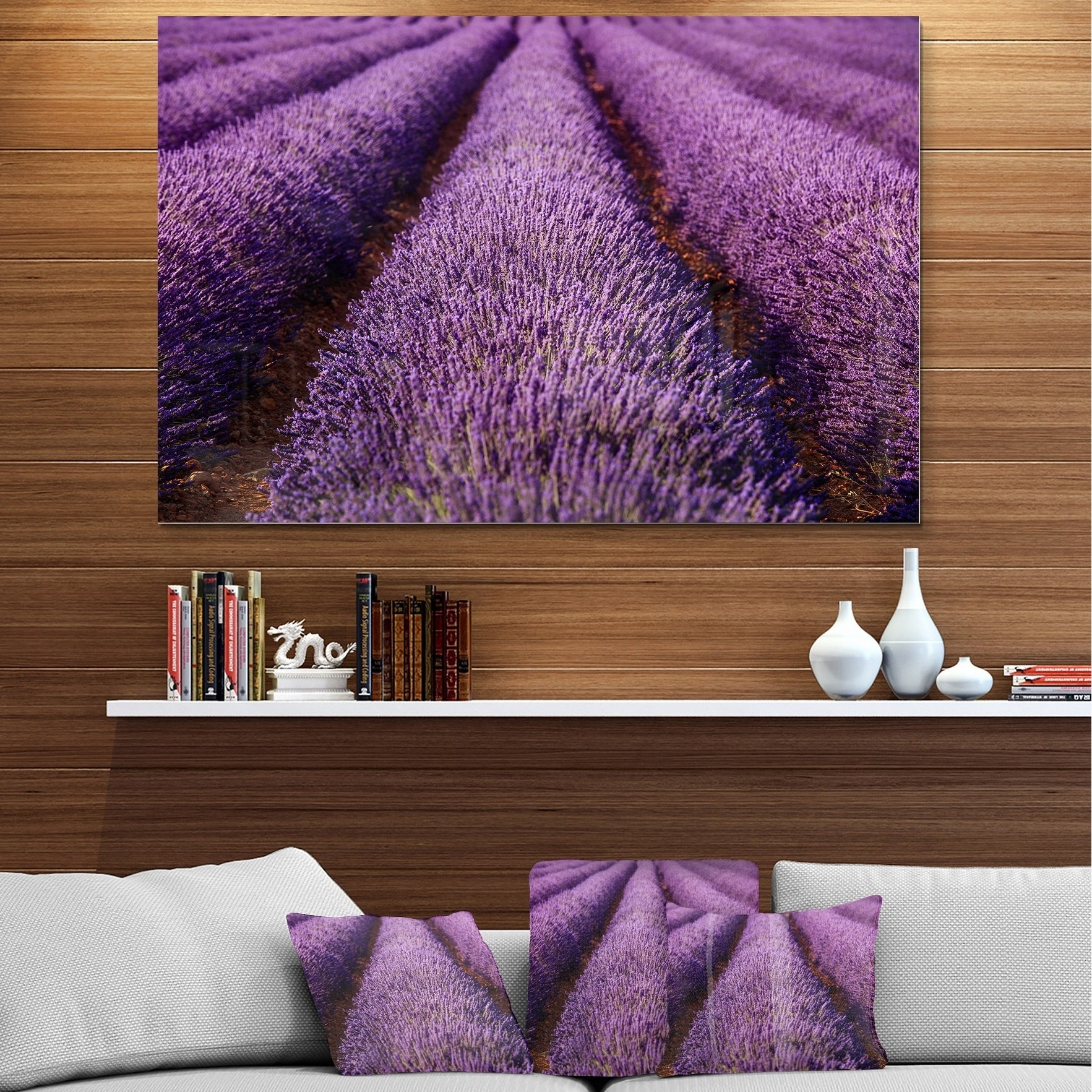 Endless Rows Of Lavender Field Oversized Landscape Glossy Metal Wall Art Overstock 12779455