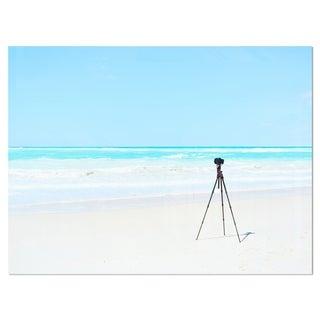 Digital Camera and Tripod on Beach - Oversized Landscape Glossy Metal Wall Art
