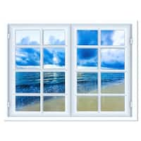 Closed Window to Blue Seascape - Oversized Landscape Glossy Metal Wall Art