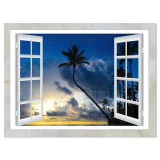 Window to Beach with Coconut Palms - Landscape Glossy Metal Wall Art