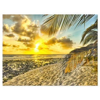 White Caribbean Beach with Palms - Landscape Glossy Metal Wall Art