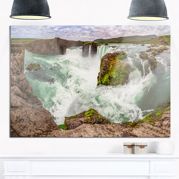 Godafoss Waterfall Iceland Panorama - Landscape Glossy Metal Wall Art