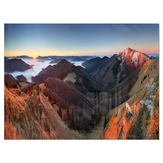 Red Mountain Sunset Panorama - Landscape Glossy Metal Wall Art