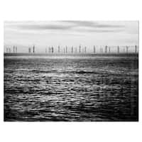 Wind Turbines Black and White - Landscape Glossy Metal Wall Art