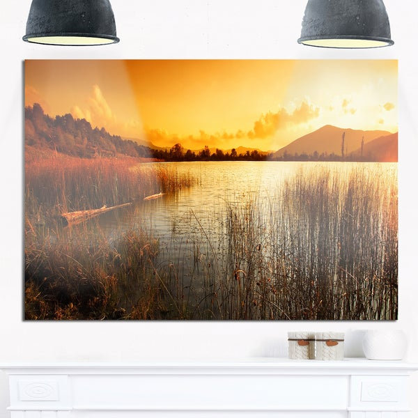 Metal Wall Art Mountain Landscapes : Calm evening with lake and mountains landscape glossy