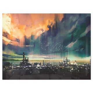 Abstract Sci-fi City Watercolor - Large Photography Glossy Metal Wall Art