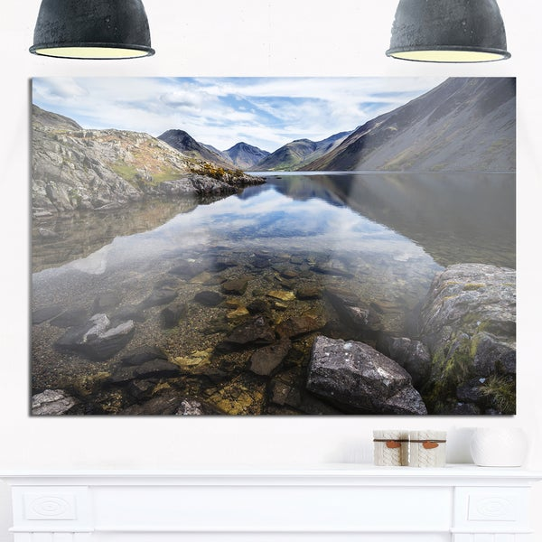 Wast Water with Reflection in Lake - Landscape Glossy Metal Wall Art