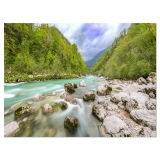 Slovenia Waterfall Panorama - Landscape Glossy Metal Wall Art