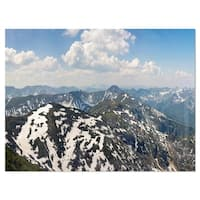 Green Mountains in Spring Panorama - Landscape Glossy Metal Wall Art