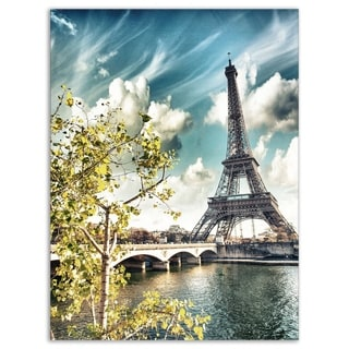 Vegetation Near Eiffel Tower - Landscape Photo Glossy Metal Wall Art