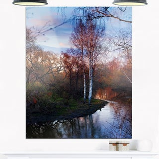 Forest River in the Spring - Landscape Photo Glossy Metal Wall Art