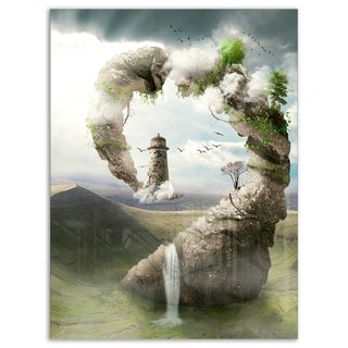 Magical Bridge to Lighthouse - Landscape Photo Glossy Metal Wall Art