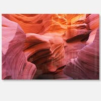 Orange Red Antelope Canyon - Landscape Photo Glossy Metal Wall Art
