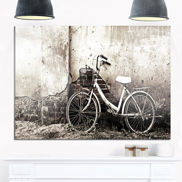 Shop Old Bicycle and Cracked Wall - Photography Glossy Metal Wall ...