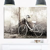 Old Bicycle and Cracked Wall - Photography Glossy Metal Wall Art