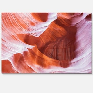 Antelope Canyon Brown Wall - Landscape Photo Glossy Metal Wall Art