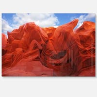Red and Orange Shade in Antelope Canyon - Photo Glossy Metal Wall Art