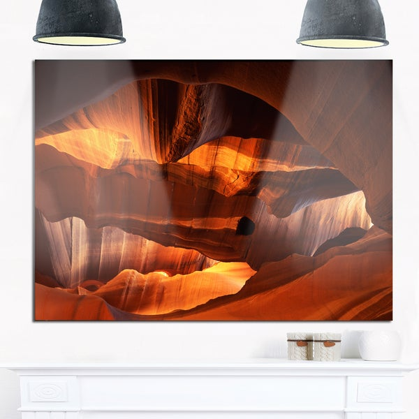 Red Limestone Caves - Landscape Photo Glossy Metal Wall Art