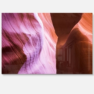 Purple Shade in Antelope Canyon - Landscape Photo Glossy Metal Wall Art