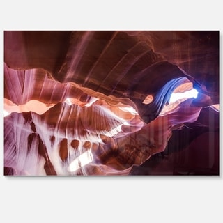 Blue Light in Antelope Canyon - Landscape Photo Glossy Metal Wall Art