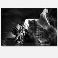 Black and White Antelope Canyon - Landscape Photo Glossy Metal Wall Art