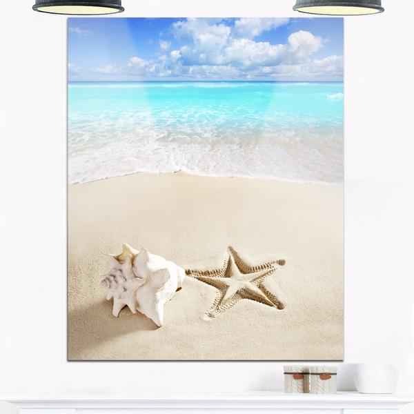 Caribbean Beach Starfish - Beach Photography Glossy Metal Wall Art