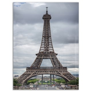 Grayscale Eiffel Tower - Cityscape Photography Glossy Metal Wall Art